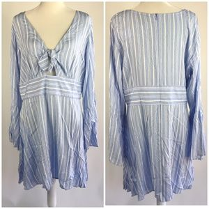 Rue 21 Bow Front Striped Long Sleeve Dress